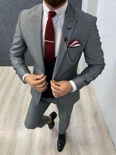 Size : Suit material: Woolen, Polyester Machine washable : NoFitting : Regular Slim Fit Remarks: Dry Cleaning Only Mens Fashion Wear, Suit Fashion, Grey Slim Fit Suit, Black Suits, Black Men, Black Overalls, Designer Suits For Men, Classy Men, Suit Vest
