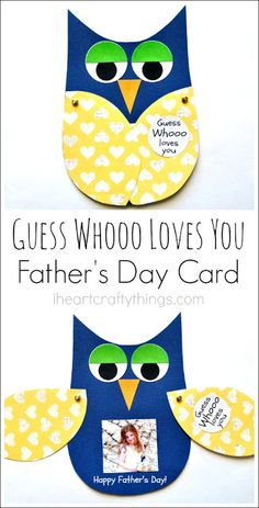 """Guess Whooo loves you"" and the wings open… Kinder basteln DIY Vatertagskarte. ""Guess Whooo loves you"" und die Flügel öffnen sich mit einem Kinderfoto. Toddler Crafts, Preschool Crafts, Diy Crafts For Kids, Gifts For Kids, Craft Ideas, Kids Diy, Diy Father's Day Crafts, Simple Crafts, Food Ideas"