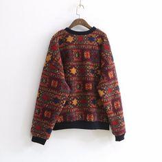 Vintage Print O-Neck Sweatshirt – WickedAF Vintage Prints, Cotton Spandex, Sweatshirts, Long Sleeve, Floral, Sleeves, Sweaters, Fashion, Moda
