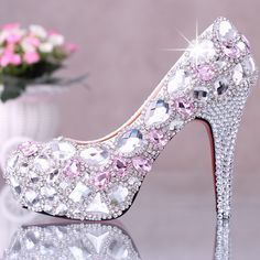 Pink crystal high-heeled shoes platform bridal rhinestone shoes formal dress shoes women $148.55