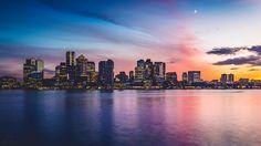 Boston at dusk, taken by me a few nights ago [1920x1080] - Imgur