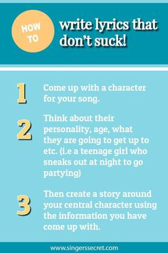 Nifty ideas for writing lyrics that don't sound corny or clich�. http://singerssecret.com/how-to-write-lyrics-that-dont-suck/ #songwriting