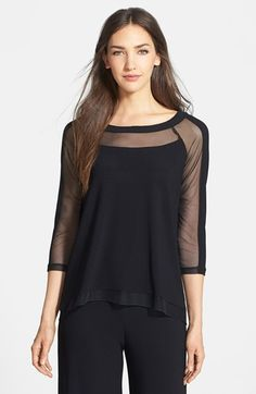 Komarov Mesh Detail Knit Top at Nordstrom.com. Sheer mesh panels add an air of sporty allure to a bateau-neck knit top with a swingy, loose fit.