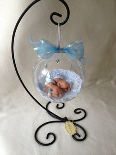 "It's Twin Boys...Polymer Life Like Baby Keepsake  5 1/2"" Ornament with Stand"