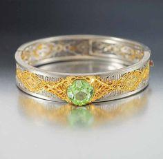 Vintage Art Deco Bracelet Peridot Gold Silver Bangle Bracelet Vintage 1920s Art Deco Jewelry Bridal Jewelry