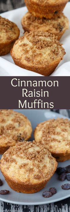 The most delicious Cinnamon Raisin Muffins EVER! These muffins are light, moist, speckled with raisins, and topped with cinnamon-sugar. via (Dessert Recipes Cinnamon) Breakfast Muffins, Breakfast Bake, Best Breakfast, Breakfast Ideas, Quiche Muffins, Breakfast Recipes, Muffin Recipes, Baking Recipes, Dessert Recipes