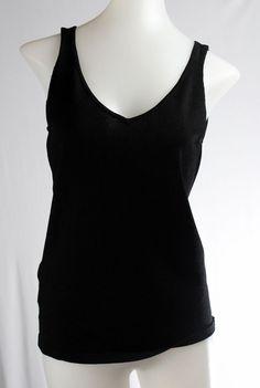 TALBOTS Small Petite Black Sleeveless V-Neck Thin Sweater Top #Talbots #VestSleeveless