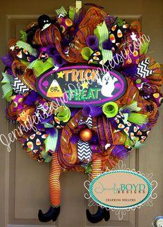 Bright Halloween Witch Legs Deco Mesh Wreath by Jennifer Boyd Designs.  www.facebook.com/JenniferBoydDesigns www.etsy.com/shop/JenniferBoydDesigns