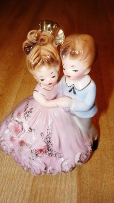 Vintage Josef Originals Girl & Boy Dancing Together Pink Blue
