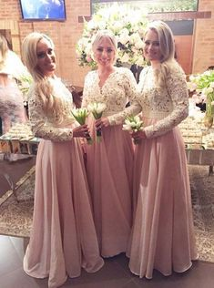 Buy Charming Sheath V-Neck Floor Length Pink Long Sleeves Bridesmaid Dress with Appliques Pink Bridesmaid Dresses under US$ 122.99 only in SimpleDress.
