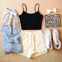 Black Top and Light Pink Shorts with Denim Shirt and White High-Top Converse Cute Teen Outfits, Cute Outfits For School, Tumblr Outfits, Cute Summer Outfits, College Outfits, Pretty Outfits, Spring Outfits, Casual Outfits, Swag Outfits