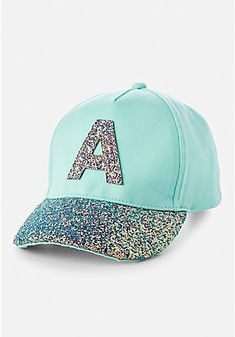 2c0150e05e6 Glitter Initial Baseball Cap Baseball Girls