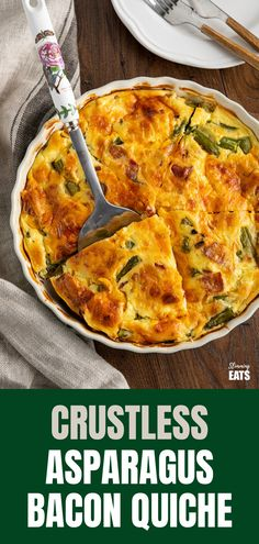 Crustless Asparagus and Bacon Quiche (from www.slimmingeats.com) - a perfect recipe for lunches and picnics using fresh asparagus, with the delicious addition of smokey bacon and melted cheesy goodness. Gluten Free, Slimming World and Weight Watchers friendly Asparagus Quiche, Asparagus Bacon, Bacon Quiche, Fresh Asparagus, Crustless Quiche Slimming World, Recipe Using Asparagus, Gluten Free Quiche, Bacon Dishes, Slimming World Recipes Syn Free