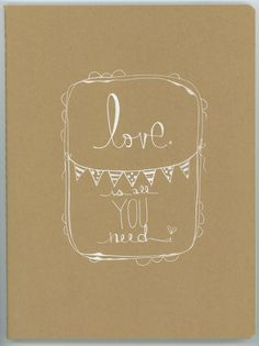 love is all you need . a HUGE moleskine hand by kelly barton on Etsy, 18.00