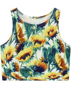 Sunflower Print Round Neck Cropped Tank Top - COLORMIX ONE SIZE