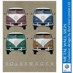 VW CAMPER VINTAGE QUAD WALL SIGN