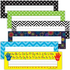 "Use them to help teachers and substitute teachers learn students' names. Use them to label learning centers, storage areas, and portfolio collections. Laminate them for use as vocabulary flash cards or word bank labels. Extra long! 3-1/2"" x 11-1/2"" 36 per pack. This product is acid-free per industry standards. This set includes 6 different titles (packs) : Left/Right, Lime Polka Dots, Aqua Chevron, Black/White Dots, Fireworks, Black Dots."