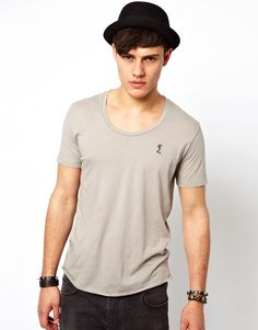 $36, Grey Crew-neck T-shirt: Religion T Shirt With Scoop Neck. Sold by Asos. Click for more info: https://lookastic.com/men/shop_items/30606/redirect