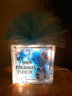 Disney's Frozen Glass Block Night Light. To order email me at jdhollenbeck10@gmail.com.