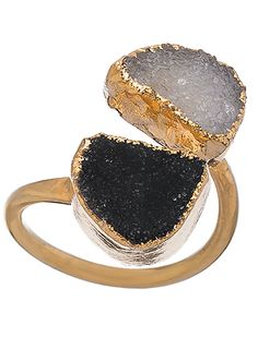 pretty black and white double druzy ring