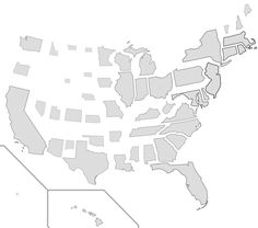 U.S. States scaled proportionally to population density