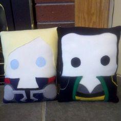 The Avengers inspired plush pillow,  Thor, Loki, Throw pillow. $34.00, via Etsy.