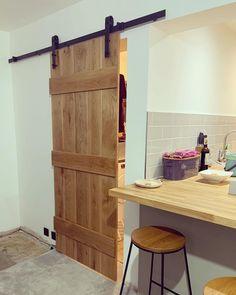Internal Cottage Doors, Internal Sliding Doors, Sliding Door Mechanism, Kitchen Sliding Doors, Pantry Doors, Barn Conversion Interiors, Door Design, House Design, Solid Oak Doors