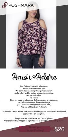 Floral Print Cold Shoulder Top TBD   •  •   Small Measurements (Laid Flat): • Bust: • Length:  Medium Measurements (Laid Flat): • Bust: • Length:  Large Measurements (Laid Flat): • Bust: • Length:  * MORE PICTURES COMING SOON! Amor Adore Tops Tees - Long Sleeve