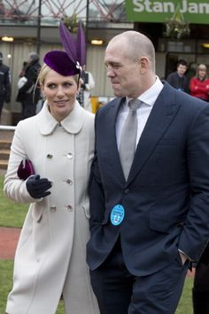 March 12 - Zara Phillips and Mike Tindall attend the first day of the Cheltenham Festival at Cheltenham Racecourse