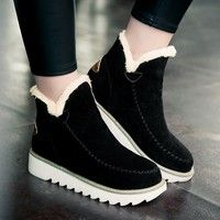 Wish | Women's New Fashion Autumn Winter Style of Warm-skinned Heels Flat Snow Scrub Shoes