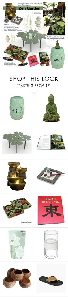"""Zen Garden"" by cruzeirodotejo ❤ liked on Polyvore featuring interior, interiors, interior design, home, home decor, interior decorating, Urban Trends Collection, Fountain, Blazing Needles and Tea Forté"