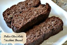 Paleo Chocolate Zucchini Bread Recipe-This turned out really good! I was over a cup short on zucchini, but it still turned out good. I also added some chocolate chips (I didn't measure them). I have ate almost the whole loaf in one day! Gluten Free Cookie Recipes, Sugar Free Recipes, Gluten Free Desserts, Snack Recipes, Dessert Recipes, Chocolate Zucchini Bread, Zucchini Bread Recipes, Paleo Chocolate, Chocolate Chips