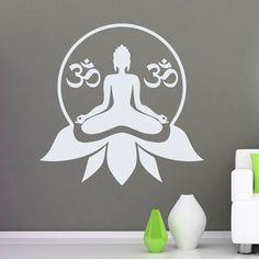 Wall Decals Lotus Flower With Om Sign Meditation Love Yoga Decal Vinyl Sticker  Home Decor Bedroom Dorm Studio MM66