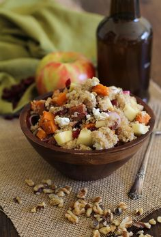 Roasted Sweet Potato Quinoa Salad with apple, cranberries, goat cheese, and maple-orange dressing | www.theroastedroot.net