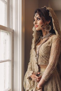 Beautiful Alvira. Want to see our full wedding album? Click and check! Follow us on Pinterest to see weekly updates! ❤︎  Pakistani  Wedding | Wedding Inspiration | Bride Portrait | Beige Wedding Dress | Wedding Photography Ideas | Precious Pics Production