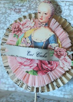 Marie Antoinette Shabby Chic Cake  Topper / Table Decor by Joosycardco on Etsy https://www.etsy.com/listing/83309152/marie-antoinette-shabby-chic-cake-topper