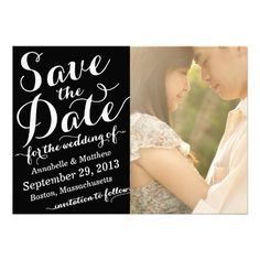 Calligraphy Script Save the Date Photo Card #weddings #savethedate