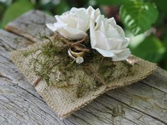 Wedding Ring Pillow With Paper Roses And Moss, Rustic, Shabby Chic Weddings. $37.50, via Etsy.