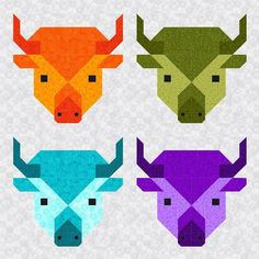 8 Inch Buffalo Quilt Block | If you're an animal lover, you won't be able to resist these adorable buffalo quilt blocks!