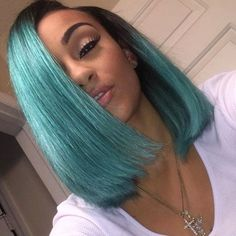 44.96$  Watch here - http://ali3ci.worldwells.pw/go.php?t=32678506316 - New arrival ombre bob wig short bob wigs for black women dark root bright green synthetic hair lace front wig straight hair