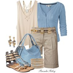 pops of blue - I'm lovin' everything about this outfit from the length of the shorts to the accessories to the color combo. Summer Wear, Spring Summer Fashion, Spring Outfits, Short Outfits, Casual Outfits, Cute Outfits, 60 Fashion, Fashion Outfits, Bermuda Shorts Outfit
