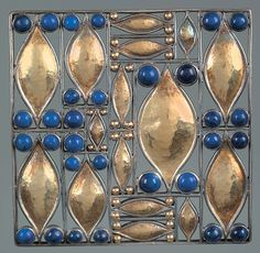 Josef Hoffmann Brooch 1907 executed by Wiener Werkstaette silver with lapis lazuli