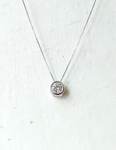 Long silver Necklace round pendant Necklace by laplumeblanche                                                                                                                                                                                 More