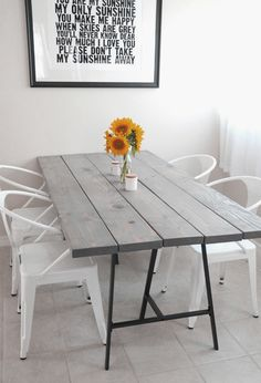 Cool DIY Wooden Dining Table Design Ideas with Metal Foot