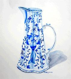 Watercolor pitcher, blue and white art.