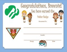 Brownie Potter Badge Certificate