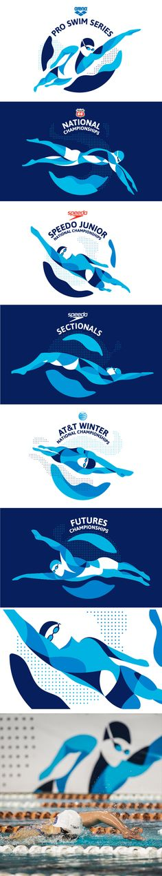 Event logos for USA swimming championships, designed by Casey Christian & Marina Groh