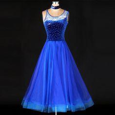 Standard Ballroom Dance Competition Dresses Rhinestone Marine Costumes For Women Blue Tango/Waltz Dresses Modern Dance Dress
