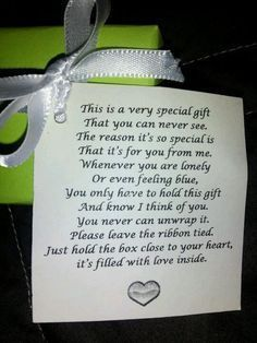So I work in a nursing home and one of my residents gave me this little box with the sweetest poem! Such a sweet gift and I thought I would share the idea with my fellow pinners :). Could be used from Alz residents to their family members ! Gag Gifts, Cute Gifts, Craft Gifts, Funny Gifts, Funny Retirement Gifts, Nursing Home Gifts, Nursing Homes, Holiday Crafts, Christmas Crafts