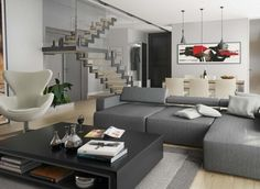 Living modern in culorile gri. Couch, Living Room, Amber, Gardens, Modern, Furniture, Home Decor, Settee, Trendy Tree